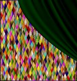 Colored romb background with green drape. Many colored romb background with green drape royalty free illustration