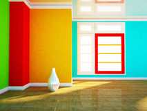 Colored room with a white vase Stock Images