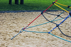Colored ropes fastened together 3 stock images