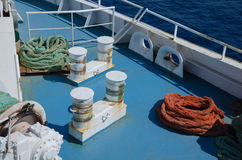 Colored ropes on the ship Royalty Free Stock Photos