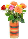 Colored roses flowers in a colored vase, close up, white background Stock Photo