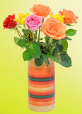 Colored roses flowers in a vibrant colored vase. Royalty Free Stock Image