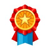 Colored rosette with gold medal. Illustration of award for sports or corporate competitions Stock Image