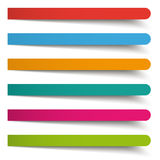 6 Colored Round Banners Long. Colored banners on the grey background Stock Photo