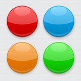 Colored round buttons. Web 3d icons on gray background. Vector illustration Stock Photography