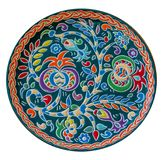Colored round dish with the Crimean Tatar ornament in the form Royalty Free Stock Image