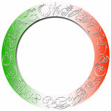 Colored round food border. Round gradient colored border with food symbols around and with white frame in the center for filling with content Stock Photography