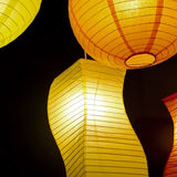 Colored round paper lamp. Black background Stock Photo