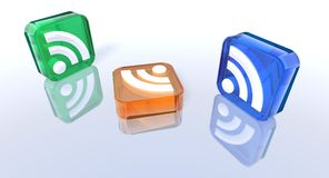 Colored rss symbols Royalty Free Stock Photography