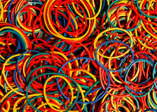 Colored rubber bands. Many different colored bands Stock Photography