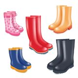 Colored rubber boots vector realistic icon set. Colored rubber boots vector icon set. Rain boots realistic illustration on white background vector illustration