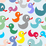 Colored rubber duck for bathing seamless pattern. Royalty Free Stock Images