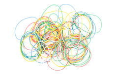 Colored rubber rings. On the white background Royalty Free Stock Photo