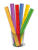 Colored Rulers. Colorful collection of wood and plastic foot rulers in a desk organizer. For home, office, arts, crafts, back to school projects. EPS8 organized Royalty Free Stock Photos