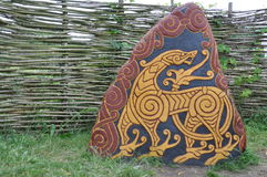 Colored rune stone Stock Photography