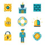 Colored Safety and Insurance Icons Royalty Free Stock Photos