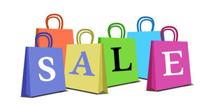 Colored sale bags Royalty Free Stock Photo