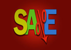 Colored sale bargain lower percent price goes down. Royalty Free Stock Photos