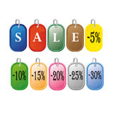 Colored sale labels set Royalty Free Stock Photos