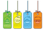 Colored sale and promo transportation tag and cards Stock Images