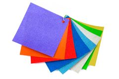 Colored samples of fabric on the background. place for text. top view stock photo