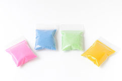 Colored sand in a bag Royalty Free Stock Photo