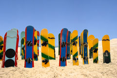 Colored sand boards Royalty Free Stock Photo