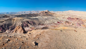 Colored sand in the desert. Israel, in the Negev desert, the crater Makhtesh Gadol colored sands Stock Image