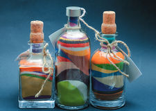 Colored Sand Poured In Layers In A Bottle Stock Photo