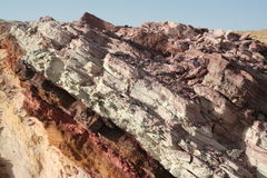 Colored sandstone in Negev desert. Sandstone layers in Israeli colored sands park Stock Photos