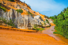 Colored Sandstone and Red River Stock Images