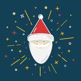 Colored Santa Claus icon in thin line style. Royalty Free Stock Photography