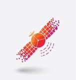 Colored satellite icon on white background. Royalty Free Stock Image