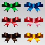 Colored satin bows. Vector, pastel, shiny on the gradient background Royalty Free Illustration