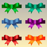 Colored satin bows Royalty Free Stock Images