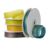 Colored satin ribbon rolls Stock Image