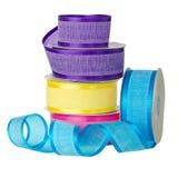 Colored satin ribbon rolls Stock Photo