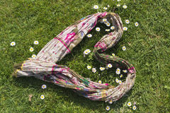 Colored scarf. Forming a heart lying on a spring meadow with daisies Stock Image