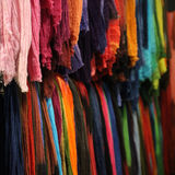 Colored scarfs. Colored scarf in a Christmas market Royalty Free Stock Photography
