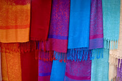 Colored scarves from Asia Royalty Free Stock Image