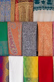Colored scarves in bazar market in Deira, old touristic district Royalty Free Stock Photos