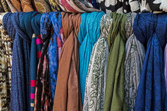 Colored scarves of various materials Stock Photography