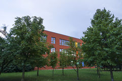 Colored school building Stock Images
