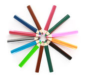 Colored school pencils Stock Photo