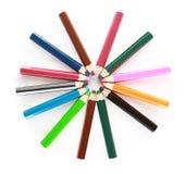 Colored school pencils. Wheel of Color school Pencils stock photo