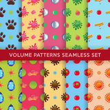 Colored seamless blobs, drops pattern set Stock Image