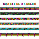 Colored seamless doodle border line. Stock Photos
