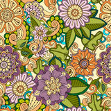 Colored seamless hand drawn patterns with abstract flowers and leaves. Doodle floral backgrounds. Colored seamless hand drawn patterns with flowers. Ornate Royalty Free Stock Image