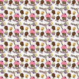 Colored seamless pattern with colorful fruit and chocolate cupca. Kes on a light background Royalty Free Stock Photo