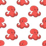 Happy octopus. Colored seamless pattern with cute cartoon character. Simple flat vector illustration isolated on white background royalty free illustration